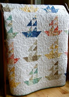 Quilt Baby Lap Handmade Seaside Sailboats Riley Blake by PiecesOfPine. i like how they did the sailboats Quilting Projects, Quilting Designs, Sewing Projects, Quilt Baby, Nautical Quilt, Nautical Nursery, Scrappy Quilts, Small Quilts, Machine Quilting