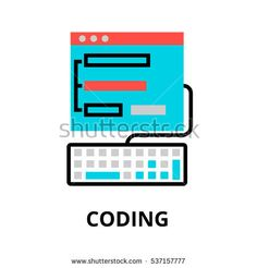 Modern flat editable line design vector illustration, concept of coding process icon, for graphic and web design
