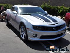 Silver 2010 Chevy Camaro With Racing Stripes