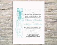 Only in navy and maybe some orange  Nautical Jellyfish Invitation  by SeaOfLoveStudios White and navy, maybe with some touches of orange
