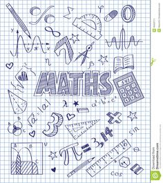 Photo about Vector illustration of Hand drawn Mathematics set. Illustration of hand, pencil, divider - 49433711 Binder Covers, Notebook Covers, School Notebooks, Decorate Notebook, Cover Pages, Doodle Art, Mathematics, Hand Lettering, Back To School