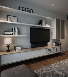 Like this but with raw timber shelves. Like the idea of a slide opening for access to austar box and DVD player. But Solid wood. Living Room Wall Units, Living Room Tv Unit Designs, Home Living Room, Living Room Decor, Tv Wall Units, Small Living Room Ideas With Tv, Tv Units, Timber Shelves, Tv Wall With Shelves