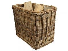 Holzkorb, Tragekorb aus Rohr gefüttert mit Rollen (56x37x50)