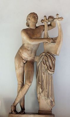 Statue of Pothos, restored as Apollo kitharoidos. Roman copy after a Greek original. Date circa 300 BC (original); 1st century AD-2nd century AD (copy) - Marble. Capitoline Museums