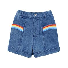 OVER THE RAINBOW SHORTS ❤ liked on Polyvore featuring shorts, bottoms, puffy shorts, blue shorts and rainbow shorts
