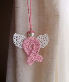 Crochet pink ribbon Angel guardian breast cancer awareness ornament by ashleyw Crochet Gifts, Crochet Yarn, Crochet Flowers, Free Crochet, Breast Cancer Crafts, Crochet Angels, Awareness Ribbons, Crochet Accessories, Breast Cancer Awareness