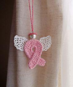 Crochet pink ribbon Angel guardian breast cancer awareness ornament