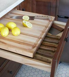 Great Top-Drawer Storage.. love this idea.. husband is worried about juices running into the drawer - Helle knives