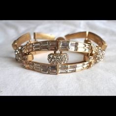 """J. Crew CRYSTAL BAGUETTE BRACELET - NWT! J. Crew CRYSTAL BAGUETTE BRACELET - A pretty (and incredibly sparkly) piece with a decidedly Art Deco vibe, this delicate bracelet is inlaid with tiny crystal baguettes and very fine hand detailing that sets it apart—and makes it an instant classic. - DETAILS: •      Item 05977 •      Retail $118 •      Color: Crystal •      Length: 7.5"""" •      Brass, Czech glass •      Light gold plating •      Signature clasp closure •      Import - BRAND NEW – SOLD…"""
