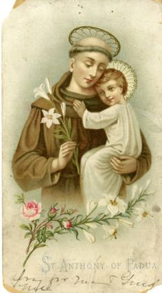 Anthony of Padua holy card :: Holy Cards Collection at the University of Dayton Mother Mary Images, Images Of Mary, Catholic Pictures, Jesus Pictures, Catholic Art, Catholic Saints, Religious Images, Religious Art, Saint Antonio