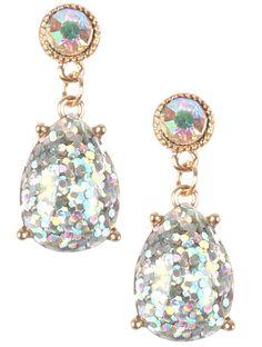 Dazzling Glitter Finish Teardrop Dangle Earrings