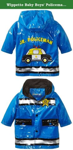 Wippette Baby Boys Policeman Shiny Rainwear, Royal, 12 Months. Hooded rain jacket with police car applique.