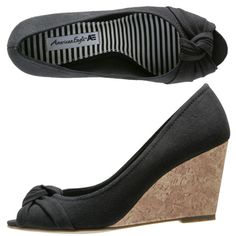 I just got a pair of these  Kendal Knot Wedge  American Eagle shoes.