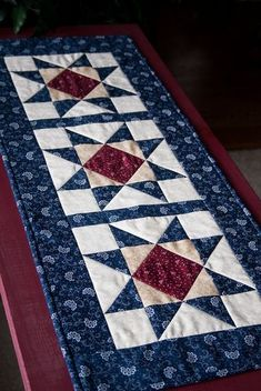 Patriotic Star Red White Blue Table Runner by CarolsStitching
