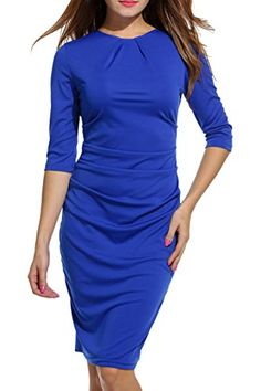 HOTOUCH Women s Elegant 3 4 Sleeve Knee Length Ruched Business Cocktail Pencil  Dress at Amazon Women s Clothing store  c8031642b