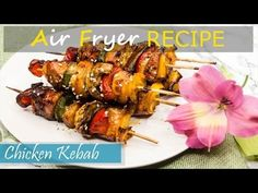 Juicy, tender, and colorful chicken kabobs. No marination needed, no grill needed. Very easy to make with air fryer or oven. Video tutorial included. #airfryerrecipes #chicken #chickenkabobs