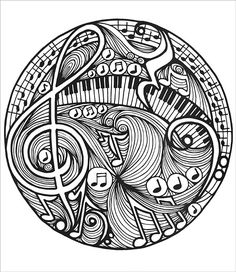 Music Coloring Pages For Adults Doodles Noodles Coloring Book From Knitting By On Sale Music Pages For Music Coloring Pages For Adults Pdf Coloring Book Pages, Coloring Sheets, Music Doodle, Music Drawings, Doodles, Zentangle Patterns, Zentangles, Mandala Coloring, Printable Coloring