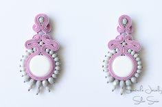 Pink / White/ Grey Soutache earrings