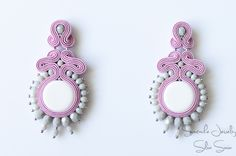 Pink / White/ Grey Soutache earrings