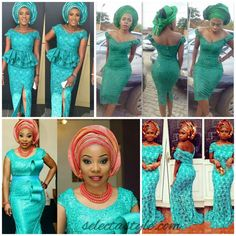 GREEN LACE ASO EBI TREND, AS IT WAS ROCKED BY FASHIONISTAS THIS WEEKEND