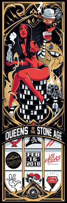 Queens of the Stone Age, Las Vegas Tour Posters, Band Posters, Retro Posters, Musik Illustration, Rockabilly, We Will Rock You, Music Artwork, Stone Age, Concert Posters