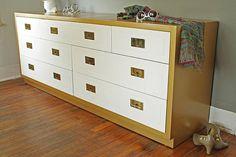 Golden Frame Campaign Dresser and Nighstands by HayleonVintage, $1250.00