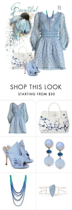 """""""Baby Blues"""" by chileez ❤ liked on Polyvore featuring Zimmermann, Longchamp, N°21 and Melissa Joy Manning"""