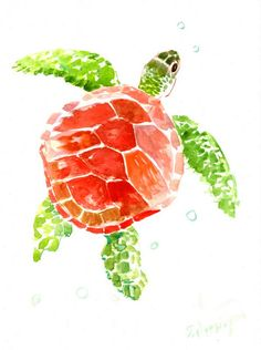 Red Green sea turtle painting, 12 X 9 in, sea animal art, animal lover wall art