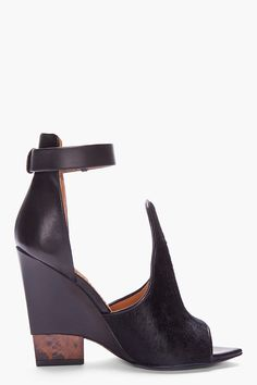 Givenchy Black Calf Hair Podium Sandals #shoes