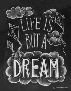 Life Is But A Dream - Kite and Cloud Print - Childs Room Decor - Illustrative Print -Chalkboard Art - Chalk Art - 11 x 14 Print
