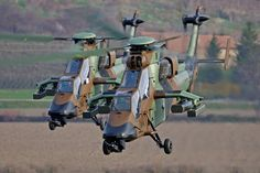 French Tiger copters flying, produced by Eurocopter