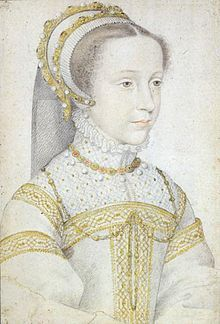 MARY QUEEN OF SCOTS. DATA: by Francois Clouet, done 1555. She is 13 years old. Marie Stuart en 1555, Note BROWN eyes.