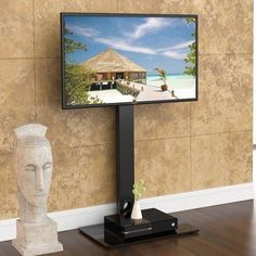 Fitueyes Universal TV Stand with Swivel Mount for 32 34 40 42 45 50 inch Sony LG Apple LED LCD flat screen TVs TT106001MB, Black