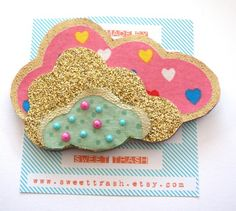 Pinkglitter gold and mint cloud brooch by SweetTrash on Etsy, £14.00