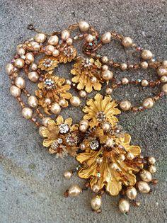 Huge runway seashell vintage designer DeMario parure by illume