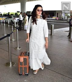 We're absolutely crushing over Taapsee Pannu's airport look here. Outfit by . Pakistani Dresses, Indian Dresses, Indian Outfits, Kurta Designs Women, Salwar Designs, Casual Indian Fashion, Fashion Dresses, Women's Fashion, Maxi Dresses