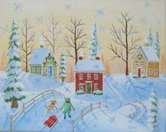 Etsy の Christmas Morning Folk Art Print by KimsCottageArt