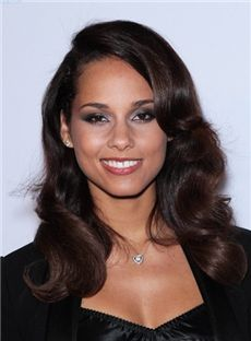 Delicate Long Curly Brown African American Lace Wigs for Women