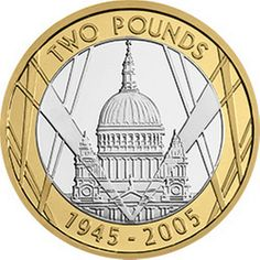 This commemorates the Anniversary of VE day. It features St Paul's Cathedral which survived the Blitz and became a symbol of hope. Rare British Coins, Rare Coins, Mint Coins, Silver Coins, Timbre Collection, English Coins, Coin Design, Coin Worth, 60th Anniversary