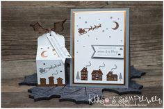 Verpackung und Karte zu Weihnachten mit dem Stempelset #weihnachtendaheim und den edgelits #winterstädtchen von #stampinup,  #Stampin@firstBloghop #kidesosstempelwelt