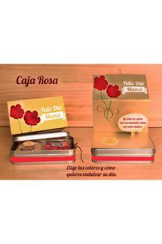 Una caja con un mensaje en movimiento, donde de una rosa se desprende un hablador con el mensaje que prefieras. En la caja de aluminio encontramos moritas, galletas con chips de chocolate. Todo un regalo especial para mamá en su día. Lo encuentras en la tienda de regalos de La Confitería. Pink, Chocolate Chip Cookies, Business Gifts, Gift Shops, Happy Day, Crates, Messages