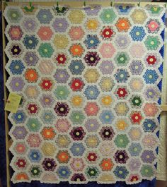 Quilt Inspiration: Vintage Quilts. Great Grandmother's Flower Garden Quilt, exhibited by Mary Fish, Flying Needles Quilters' Guild