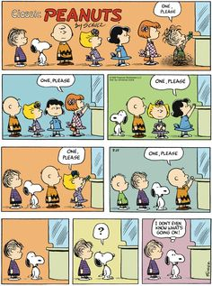 "Charles M. Schulz's classic ""Peanuts"" looks at the lives of Charlie Brown, Snoopy, and other favorite characters. Snoopy Love, Charlie Brown Snoopy, Snoopy And Woodstock, Peanuts Comics, Snoopy Comics, Funny Comics, Comics And Cartoons, Funny Cartoons, Snoopy Cartoon"