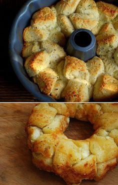 Garlic & Parmesan Pull Apart Bread: 1 can Grands biscuits (not the flaky layers) stick of butter 3 cloves of garlic, minced cup grated Parmesan cheese 1 tsp Italian Seasoning Cook for 30 min I Love Food, Good Food, Yummy Food, Bread Recipes, Baking Recipes, Garlic Parmesan, Garlic Minced, Biscuit Recipe, Biscuit Mix