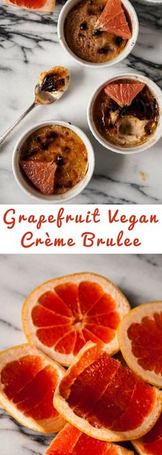 Vegan creme brulee, with a crunchy top and creamy filling, grapefruit is a perfect summer twist on this classic dessert!