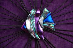 Fused dichroic glass fish pendent by Our of glass