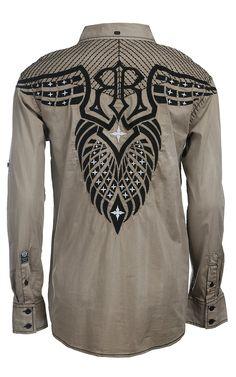 Roar Men's Breaking Ground Khaki L/S Western Shirt W52041