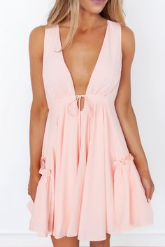 Light Pink Ruffle Detail Dress- Final Sale