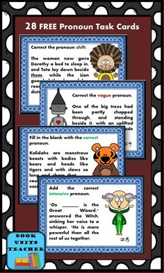 Students will enjoy pronoun practice with this free set of task cards.
