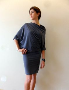 Grey cocktail dress with dolman sleeves, drapey silhouette. €45.00, via Etsy.